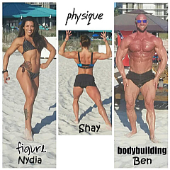 Nydia (Figure), Shay (Physique) and Ben (Bodybuilding) Champions on the Beach in Panama City for the RipTide Classic.