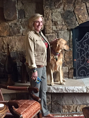 "Carolyn with her ""rescue golden""!"