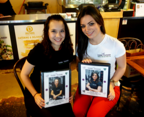 Clarissa and Ashley with their Memory Photo Albums at thier going a way Lunch!