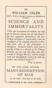 By 1913, Osler was wll known for his essays and books. This was like an ad in the back of the book.