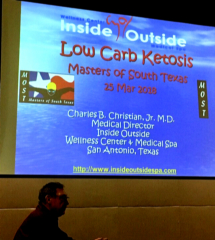 Dr. Christian giving a LoCarb/Ketosis Seminar at Masters of South Texas Swim Team.
