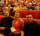 Dr. Christian, Staff Member Sierra Lee and Intern Gilbert Vazquez at Dr. Sapolsky's seminar at Laurie Auditorium.