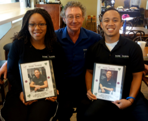 Shanell, Dr. Christian and Kevin with their memory scrapbooks at their farewell lunch at Druthers!